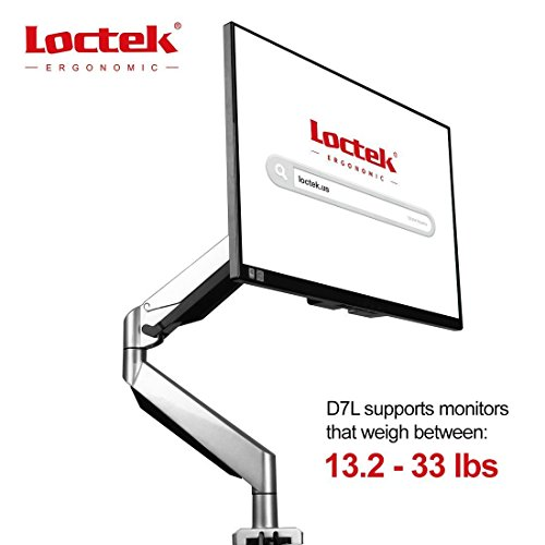 Loctek Monitor Mount Heavy Duty Gas Spring Swing Monitor Arm Desk Mount Stand Fits for 10-34 Monitor Weighting 13.2-33 lbs - D7L