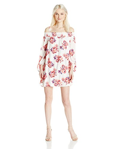 As U Wish Junior's Floral Peasant Dress, Beige Coral, S