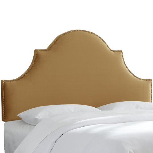 Skyline Furniture Nail Button High Arch Notched Headboard, Full, Mystere Mocassin