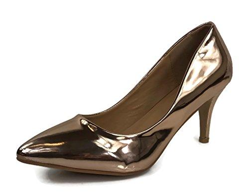 Forever Collection Mujeres Sadie Pumps Talón Medio A Bajo Resbalón En Los Zapatos Rose Gold