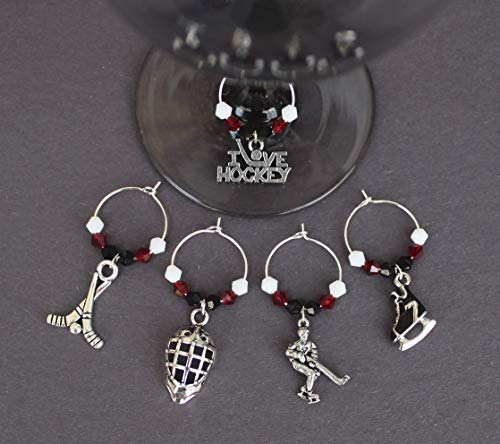 Hockey Wine Glass Charms-Chicago-Free Zipper Pull-Set of 5-HKY004-5 ()