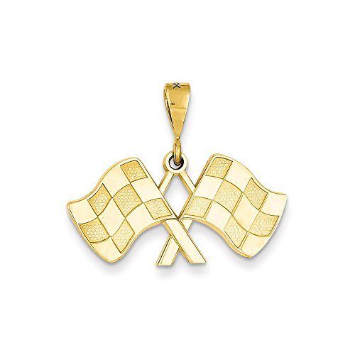 14k Racing Flags Pendant - 14k Racing Flags