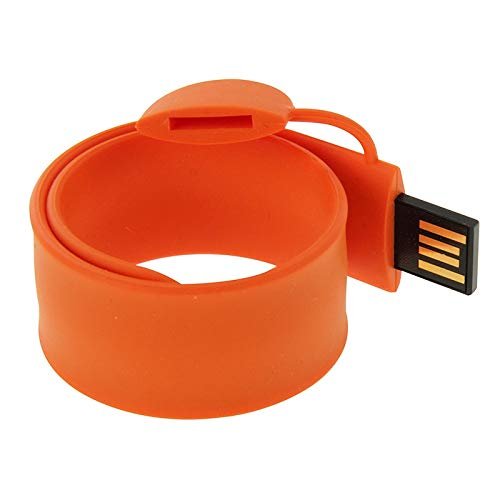 (Silicone Bracelet USB Flash Disk with 16GB Memory(Dark Blue) Data Storage (Color : Orange))