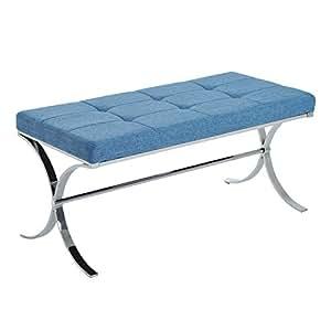 "HomCom 39"" Contemporary Tufted Curved Leg Entryway Bench (Fabric, Blue)"
