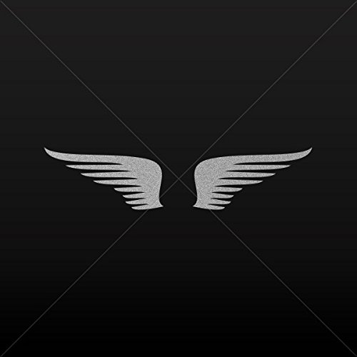 Sticker Pair of Wings Decoration Motorbike Bicycle Vehicle A Silver-Matte (14 X 7.30 Inches) ()