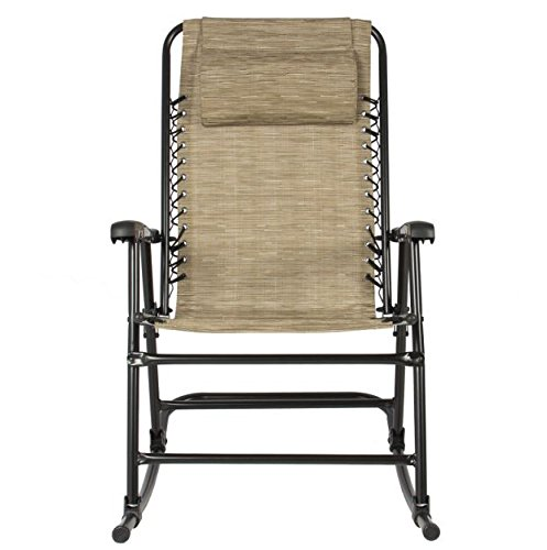 rp beige folding rocking chair patio lawn garden porch yard