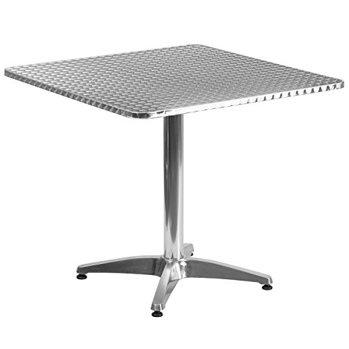 (Flash Furniture 31.5'' Square Aluminum Indoor-Outdoor Table with Base)