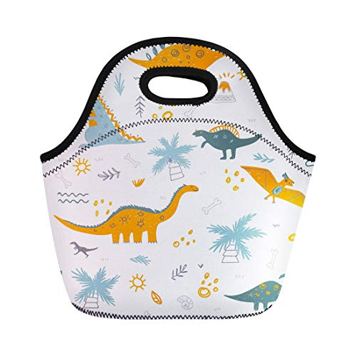 - Semtomn Neoprene Lunch Tote Bag Childish Pattern Colorful Dinosaurs Vulcan Palm Tree Shell Can Reusable Cooler Bags Insulated Thermal Picnic Handbag for Travel,School,Outdoors,Work