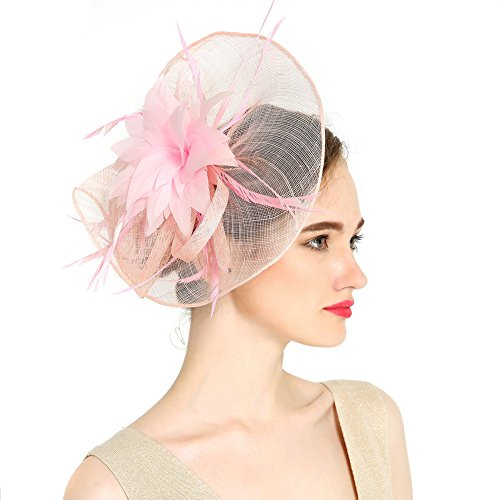 VKFashion Charming Sinamay Flower Fascinator Hats Wedding Headpiece with clips Cocktail Party Hats Pink