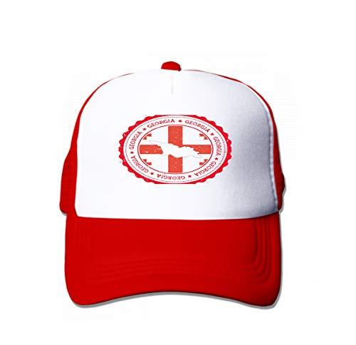 (Adjustable Contrast Color Hip Hop Baseball Hats Georgia map Flag Vintage Rubber Stamp State Colours Grungy trav red)