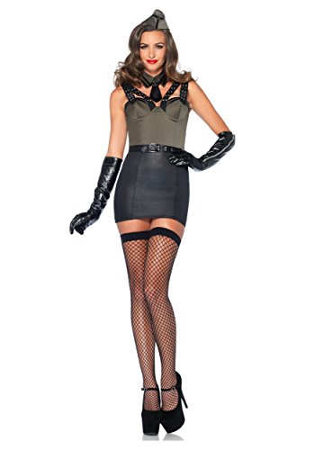 Leg Avenue Women's 3 Piece Major Bombshell Military Costume, Green, Medium (Military Halloween Costumes For Womens)