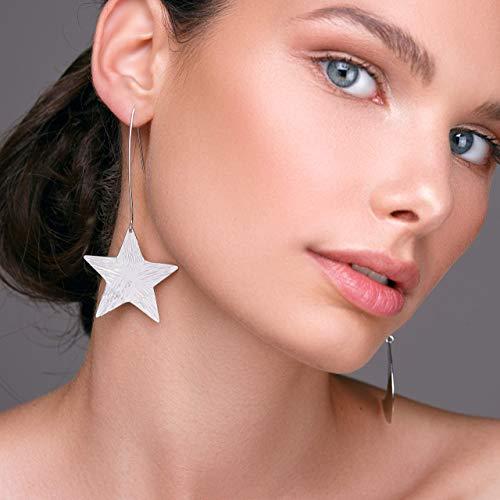 Star earring & crescent moon earrings gift, moon phase large statement earrings, mismatched earrings, silver earrings, hypoallergenic earrings
