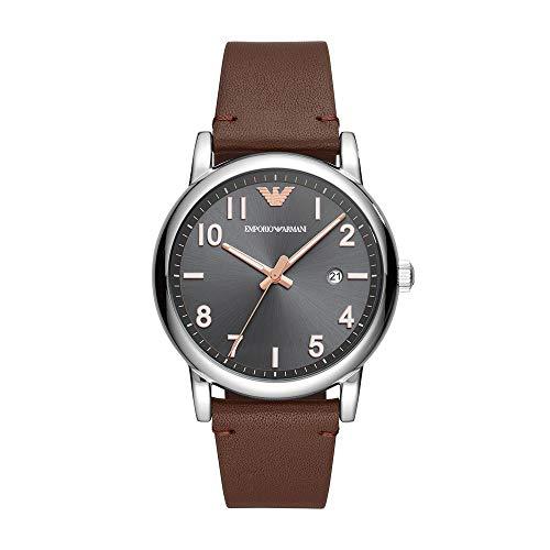 Emporio Armani Men's Stainless Steel Analog Quartz Leather Calfskin Strap, Brown, 22 Casual Watch (Model: AR11175)
