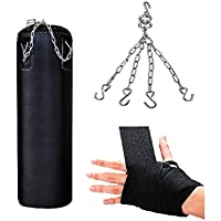 SIMRAN SPORTS Red Synthetic Leather Unfilled Punching Kit,Boxing Bag,Kickboxing Bag with Hanging Chain(Size 2ft,24 Inch)
