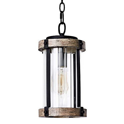 MOTINI 1 Light Outdoor Pendant Light for Porch, Farmhouse Hanging Lantern Wood Texture with Clear Ribbed Glass, Bulb Included [ETL Listed]