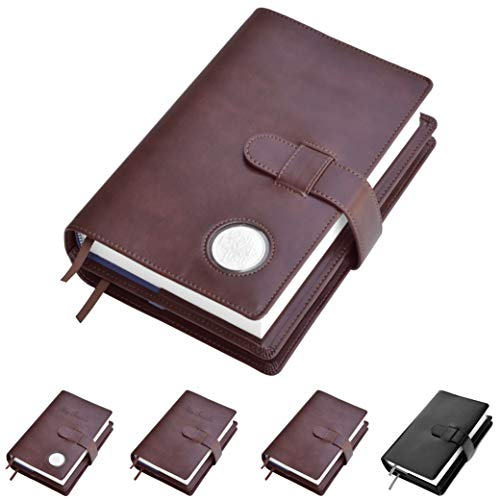 Double AA Big Book Cover & 12 Steps & 12 Traditions | Medallion Holder | by Galileo | Perfect Gift | Alcoholics Anonymous (Plain/Coin Pocket/Brown) (Big Covers Book Aa Leather)