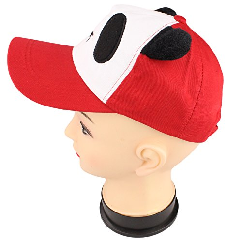 bogo Brands Panda Bear Face With Ears Baseball Cap Cute Character Hat by (Red)