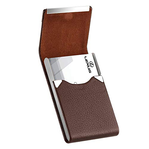 MaxGear Leather Business Card Holder Metal Business Card Case Slim Professional Name Card Holder with Magnetic Shut Coffee