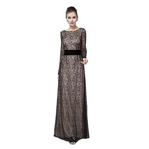Sleeve Neck Round Black Women's Lace Dresses Evening cotyledon Dress wtIBqYW