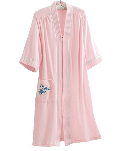 Breakaway Zipper (National Soft Knit Terry Lounger, Pink, Medium - Misses, Womens)