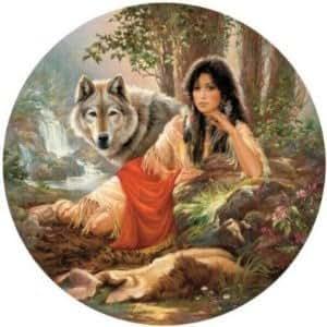 SunsOut 21814 Russ Docken - Puzzle de 1000 piezas, diseño de chica con lobos (puzzle redondo)