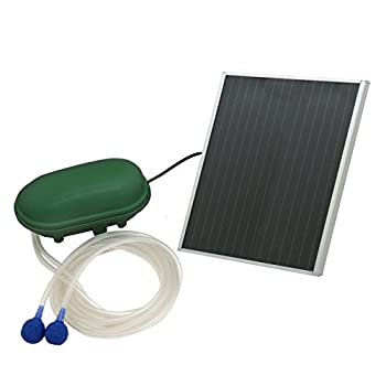 Sunnydaze Solar Pond Oxygenator Plus Air Pump Outdoor with Battery Pack 52 GPH  for Aquarium or Fish Tank