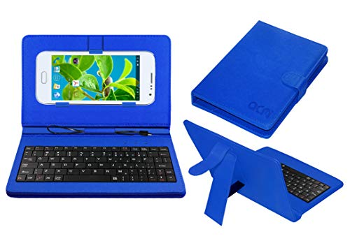 Acm Keyboard Case Compatible with Datawind Pocket Surfer 5 Mobile Flip Cover Stand Plug & Play Device for Study & Gaming Blue