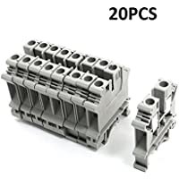Bluesky 20Pcs Gray Plastic UK6N DIN Rail crew Clipping Contact Terminal Block 800V 57A