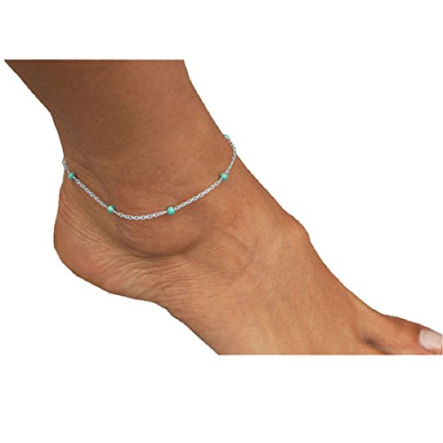 Doinshop Lady Girls Handmade Bead Foot Chain Anklet Leg Bracelet (silver)