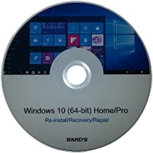 Windows 10 64-bit Home and Pro Re-install, Recovery, Repair Disc by RAND'S