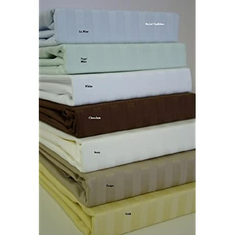 X Tra Luxury Collection Genuine 800 Thread Count Natural Combed Cotton KING Sheet Sets TAUPE Striped Pattern