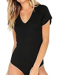 Women's Short Sleeve Tops Basic V-Neck Leotard Bodysuit Lingerie