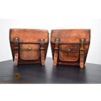 Leather Native 2 X Motorcycle Side Pouch Brown Leather Side Pouch Saddlebags Saddle Panniers ( 2 Bags ) Pre Valentines Day SALE !!!