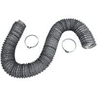 Dryer Vent Hose Transition Duct 4 inch by 8 foot - 2 Premium Screw Clamp Connections - Extra Strong Aluminum Interior and Flexible Tear Resistant PVC Outer Shell - HVAC or Grow Room Heat Ventilation