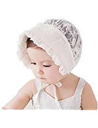 Baby Girl Lacy Bonnet Eyelet Lace Breathable Cotton Adjustable Sun Hat