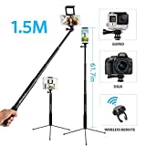 61 Inch Selfie Stick Tripod with Bluetooth Remote Extendable Monopod Stand for Gopro/Camera/iPad/iPhone 8/iPhone 8 Plus/iPhone X/iPhone 7/iPhone 7 Plus / Galaxy Note 8/S8/S8 Plus and Smartphone
