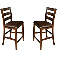 Imagio Home KA-BS-669L-RAI-K24 Kona 24 Ladder Back Barstool w/PU cushion seat, Set of 2