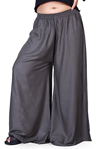 KRIZLER Women Free Size Casual Ethnic Look Rayon Cotton Long Plain Bottom Palazzo; Regular Trouser That Will Make You Feel Loose and Relaxed Indowestern Formal wear; Which You can use Every Day. Grey