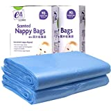 Homkare Disposable Diaper Bags, Diaper Sacks with Lavender Scent for Baby,180 Count (Blue)