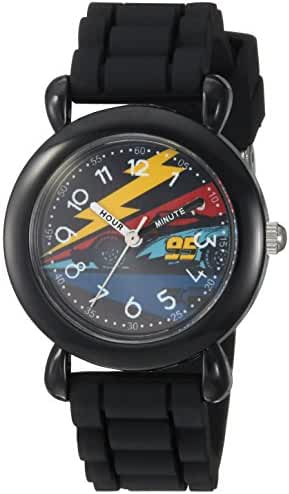 Disney Boy's 'Cars 3' Quartz Plastic and Silicone Casual Watch, Color:Black (Model: WDS000305)