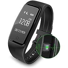 Fitness Activity Tracker, Smart Watch Heart Rate Monitor Wireless Waterproof IPX7 Bracelet HR Running Tracker Walk Counter Pedometer Steps Sleep Band-Black