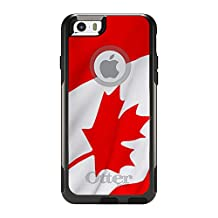 """CUSTOM Black OtterBox Commuter Series Case for Apple iPhone 6 PLUS (5.5"""" Model) - Red White Canadian Flag Canada"""