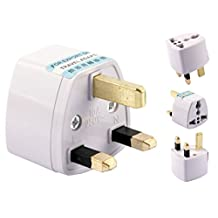 Xcessor AC Power Travel Wall Adaptor Plug Converter EU / US / AU to UK British Standard. White