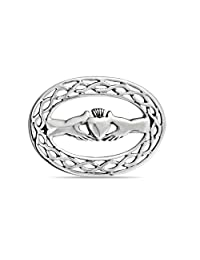 Bling Jewelry Celtic Knot Hands Heart Claddagh Brooch 925 Silver Pin