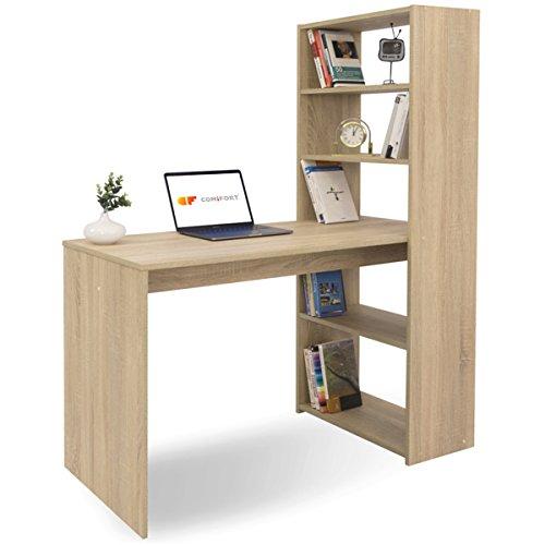 COMIFORT Escritorio con Estanteria - Mesa de Estudio con Libreria de Estructura Firme, Moderna y Minimalista con 4 Baldas Espaciosas y de Gran Capacidad, Color Sonoma
