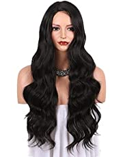 Black Synthetic Wigs for Women Natural Looking Long Wavy Right Side Parting NONE Lace Heat Resistant Replacement Wig 24 inch