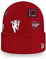 New Era Multi Patch mankiet dzianinowa męska czapka beanie ~ Manchester United czerwona