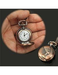Tangyongjiao Relojes fashionalbe Reloj de Bolsillo con Movimiento de Cuarzo Estilo clásico de la Gente con Cadena de Cuello Colgante