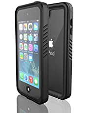 Waterproof Case for iPod Touch 7/6/ 5, DINGXIN Shockproof Dirt-Proof Snow-Proof Cover Full-body Protective Built-in Screen Protector for Apple iPod Touch 7th / 6th /5th Generation (iPod Touch 7/6/5, Black)