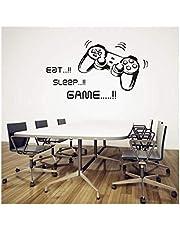 ملصق حائط EAT SLEEP GAME Joystick الفني للجدران من الفينيل لديكور غرفة الأطفال